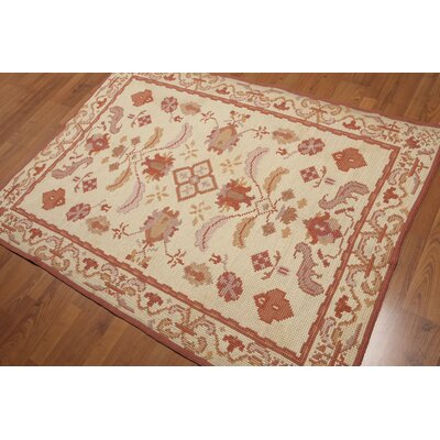 Gunning One-of-a-Kind Needlepoint Modern Oriental Hand-Knotted Wool Beige Area Rug