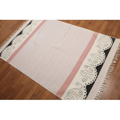 Jothilingam One-of-a-Kind Printed Dhurry Modern Oriental Hand-Knotted Cotton Pale Pink Area Rug