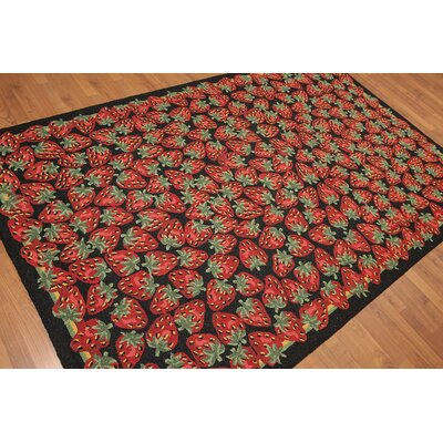 Heafey One-of-a-Kind Modern Oriental Hand-Knotted Wool Black Area Rug