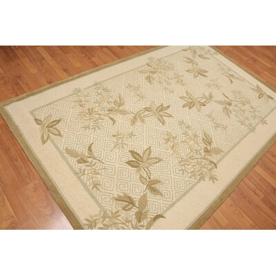 Huette One-of-a-Kind Transitional Oriental Hand-Knotted Wool Beige Area Rug