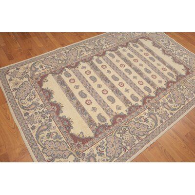 Hou One-of-a-Kind Modern Oriental Hand-Knotted Wool Beige Area Rug
