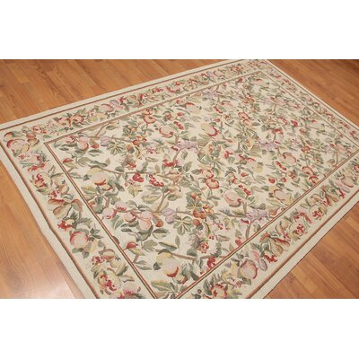Hrivnak One-of-a-Kind Modern Oriental Hand-Knotted Wool Beige Area Rug