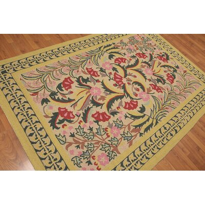 Huynh One-of-a-Kind Transitional Oriental Hand-Knotted Wool Mustard Area Rug
