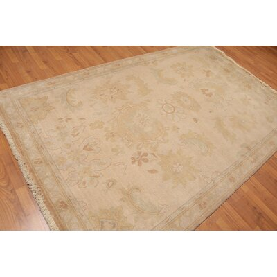 Hartell One-of-a-Kind Traditional Oriental Hand-Knotted Wool Warm Beige Area Rug