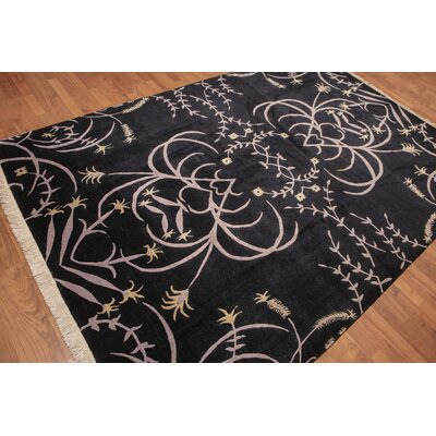 Urbonaviciute One-of-a-Kind Transitional Oriental Hand-Knotted Wool Black Area Rug