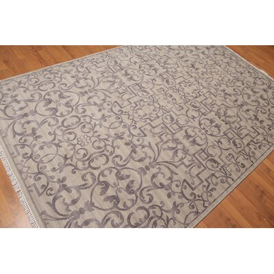 Hatherop One-of-a-Kind Transitional Oriental Hand-Knotted Wool Warm Gray Area Rug