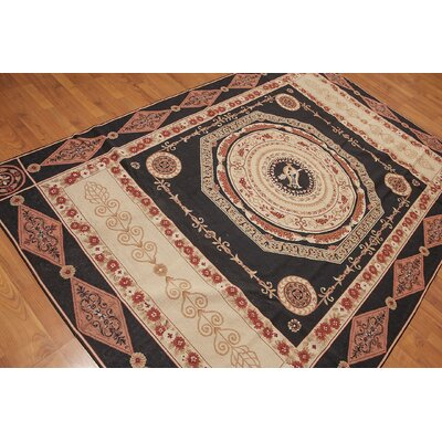 Germano One-of-a-Kind Needlepoint Traditional Oriental Hand-Woven Wool Black Area Rug