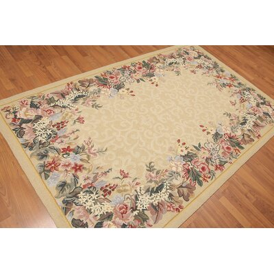 Hugette One-of-a-Kind Transitional Oriental Hand-Knotted Wool Warm Beige Area Rug