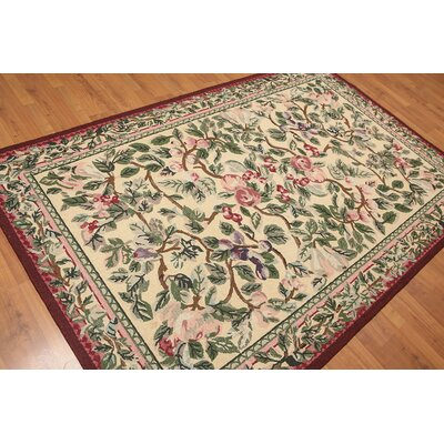 Hugh One-of-a-Kind Transitional Oriental Hand-Knotted Wool Beige Area Rug