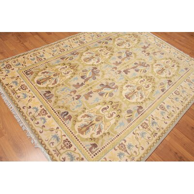 Gerold One-of-a-Kind Traditional Oriental Hand-Knotted Wool Beige Area Rug