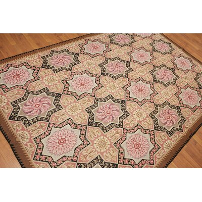 Gerhardine One-of-a-Kind Needlepoint Traditional Oriental Hand-Woven Wool Rose Area Rug