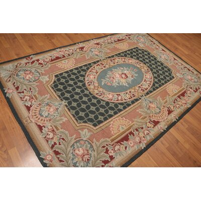 Huguetta One-of-a-Kind Traditional Oriental Hand-Knotted Wool Blue Area Rug