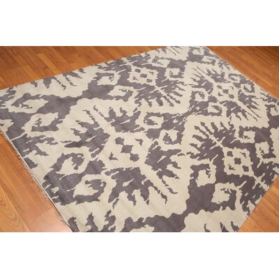 Proffitt One-of-a-Kind Contemporary Oriental Hand-Knotted Wool Gray Area Rug