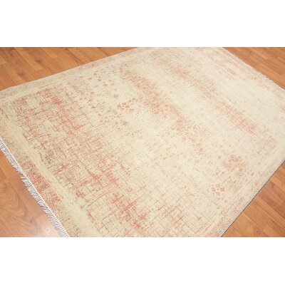 Priston One-of-a-Kind Contemporary Oriental Hand-Knotted Wool Aqua Area Rug
