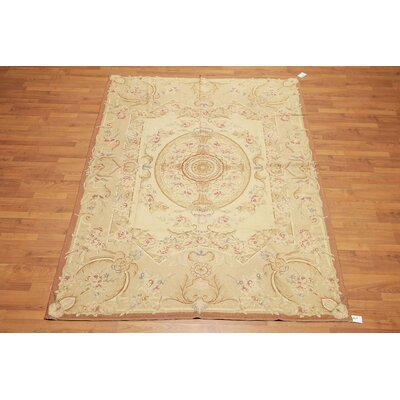 Procter One-of-a-Kind Needlepoint Traditional Oriental Hand-Woven Wool Light Gold Area Rug