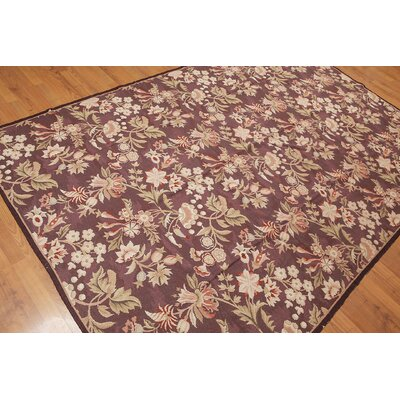 Gerlach One-of-a-Kind Needlepoint Traditional Oriental Hand-Woven Wool Aubergine Area Rug