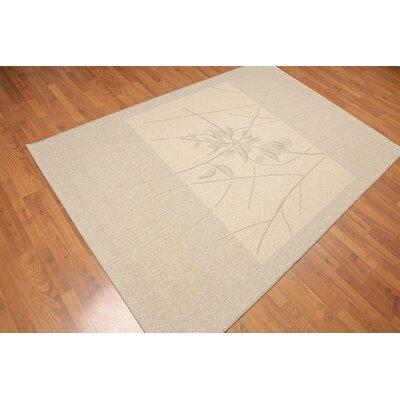 Huntsman Contemporary Oriental Wool Beige Area Rug