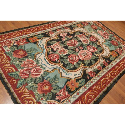Germana One-of-a-Kind Kilim Traditional Oriental Hand-Woven Wool Black Area Rug