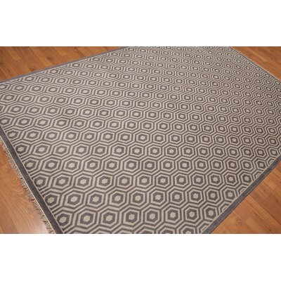 Downie One-of-a-Kind Modern Oriental Hand-Knotted Wool Warm Gray Area Rug