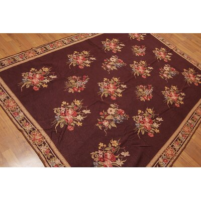 Gerde One-of-a-Kind Needlepoint Traditional Oriental Hand-Woven Wool Maroon Area Rug