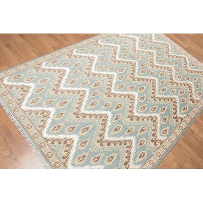 Yattendon One-of-a-Kind Contemporary Oriental Hand-Knotted Aqua Area Rug