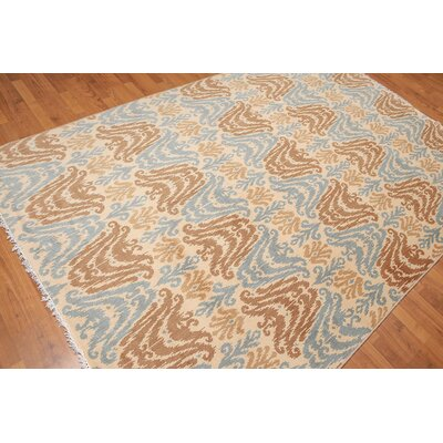 Hawking One-of-a-Kind Transitional Oriental Hand-Knotted Wool Beige Area Rug