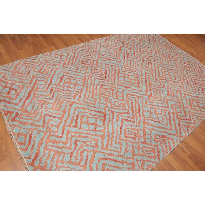 Prompton One-of-a-Kind Modern Oriental Hand-Knotted Wool Aqua Area Rug
