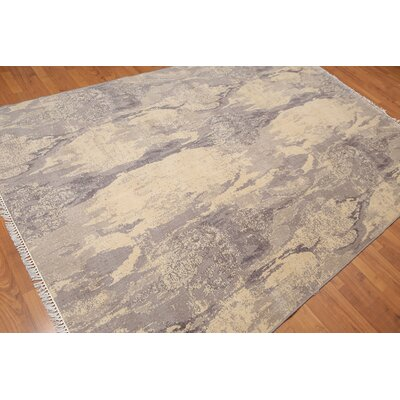 Leming One-of-a-Kind Modern Oriental Hand-Knotted Wool Beige Area Rug