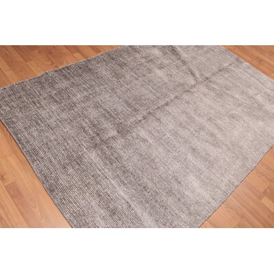 Lemen One-of-a-Kind Modern Oriental Hand-Knotted Gray Area Rug