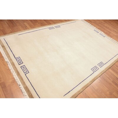 Privette One-of-a-Kind Modern Oriental Hand-Knotted Wool Beige Area Rug