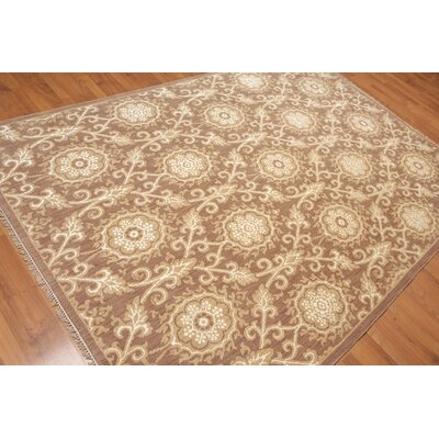 Pruitt One-of-a-Kind Transitional Oriental Hand-Knotted Brown Area Rug
