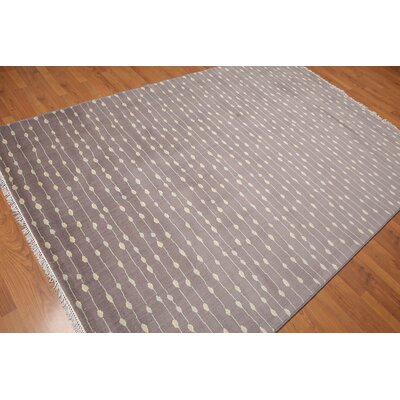 Pruneda One-of-a-Kind Modern Oriental Hand-Knotted Wool Gray Area Rug