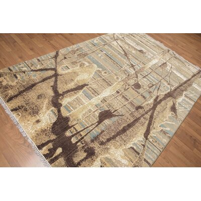 Puccio One-of-a-Kind Contemporary Oriental Hand-Knotted Aqua Area Rug