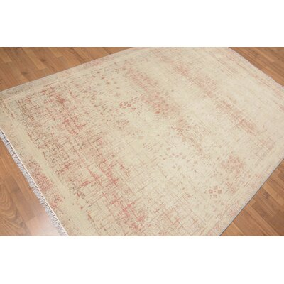 Puente One-of-a-Kind Contemporary Oriental Hand-Knotted Wool Aqua Area Rug