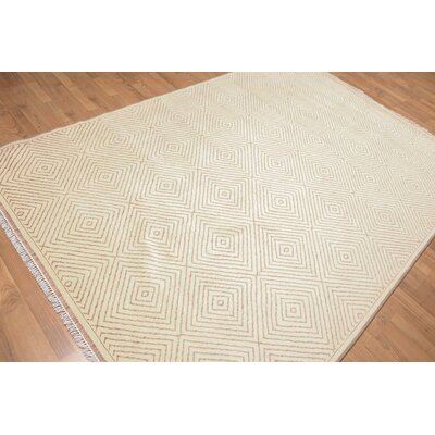 Pugh One-of-a-Kind Contemporary Oriental Hand-Knotted Wool Beige Area Rug