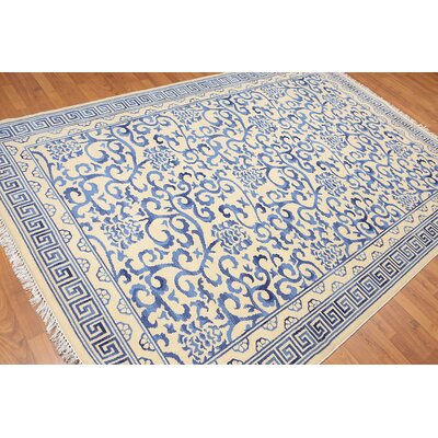 Headingley One-of-a-Kind Transitional Oriental Hand-Knotted Wool Ivory Area Rug