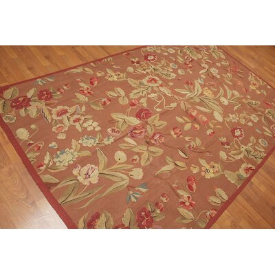 Giacinta One-of-a-Kind Aubusson Traditional Oriental Hand-Woven Wool Brown Area Rug