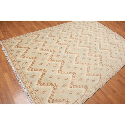 Hayman One-of-a-Kind Contemporary Oriental Hand-Knotted Wool Aqua Area Rug
