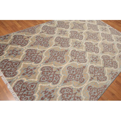 Haynes One-of-a-Kind Contemporary Oriental Hand-Knotted Wool Aqua Area Rug