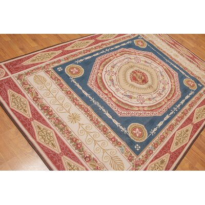 Puleo One-of-a-Kind Aubusson Traditional Oriental Hand-Woven Wool Blue Area Rug