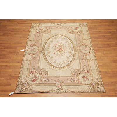 Lucienne One-of-a-Kind Needlepoint Aubusson Traditional Oriental Hand-Woven Wool Brown Area Rug
