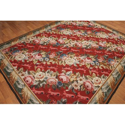 Luder One-of-a-Kind Needlepoint Aubusson Traditional Oriental Hand-Woven Wool Red Area Rug