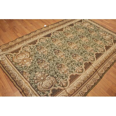 Lundquist One-of-a-Kind Needlepoint Aubusson Traditional Oriental Hand-Woven Wool Green Area Rug