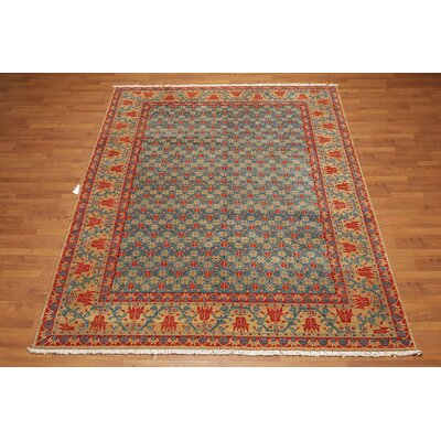 Grunin One-of-a-Kind Traditional Oriental Hand-Knotted Wool Turquoise Area Rug