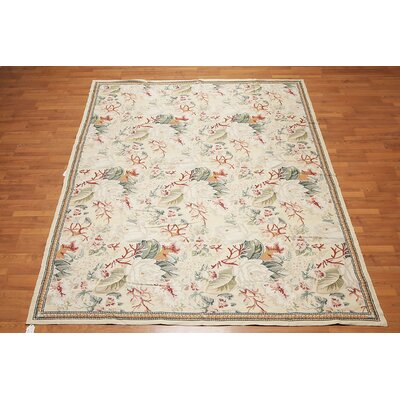 Griswalde One-of-a-Kind Needlepoint Aubusson Traditional Oriental Hand-Woven Wool Beige Area Rug
