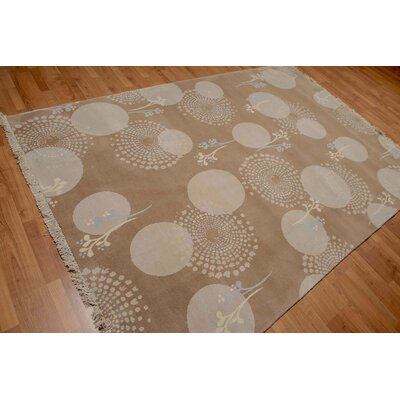 Soulsby One-of-a-Kind Contemporary Oriental Hand-Knotted Wool Tan Area Rug