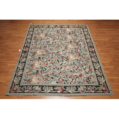 Groat One-of-a-Kind Needlepoint Aubusson Traditional Oriental Hand-Woven Wool Black Area Rug