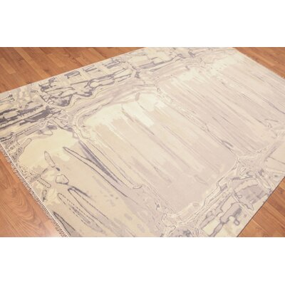 Lemley One-of-a-Kind Modern Oriental Hand-Knotted Wool Ivory Area Rug