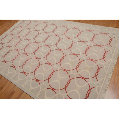 Giacomo One-of-a-Kind Contemporary Oriental Hand-Knotted Wool Beige Area Rug