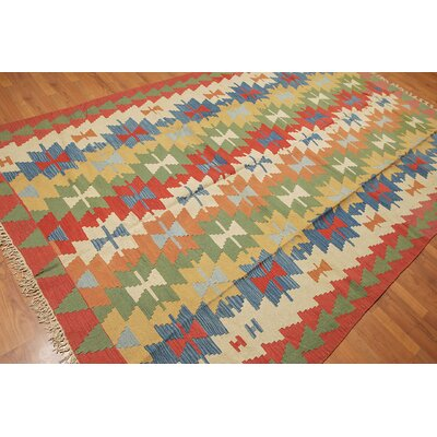 Black Cloister One-of-a-Kind Kilim Traditional Oriental Hand-Woven Wool Ivory Area Rug